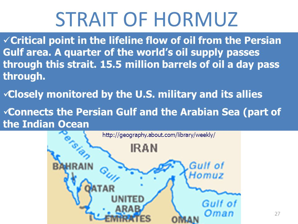 STRAIT OF HORMUZ Closely monitored by the U.S. military and its allies
