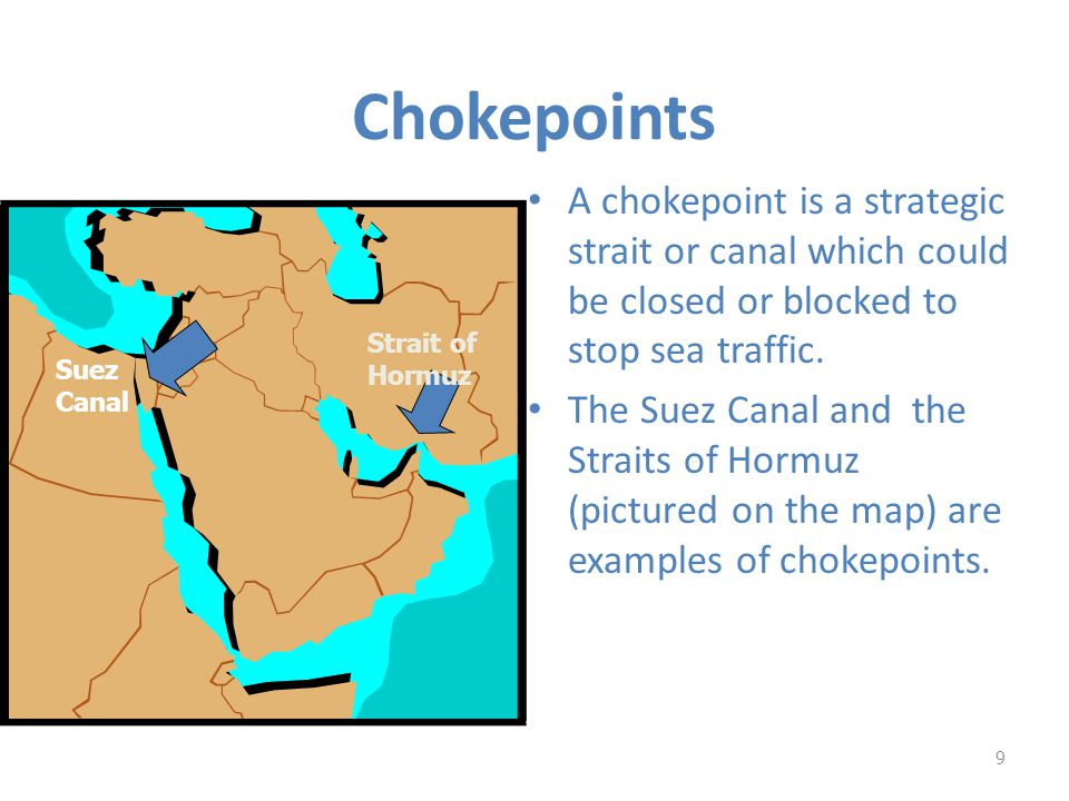 Chokepoints A chokepoint is a strategic strait or canal which could be closed or blocked to stop sea traffic.