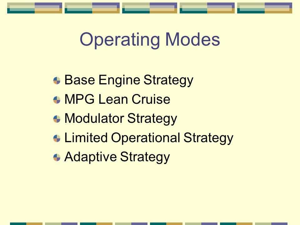 Operating Modes Base Engine Strategy MPG Lean Cruise