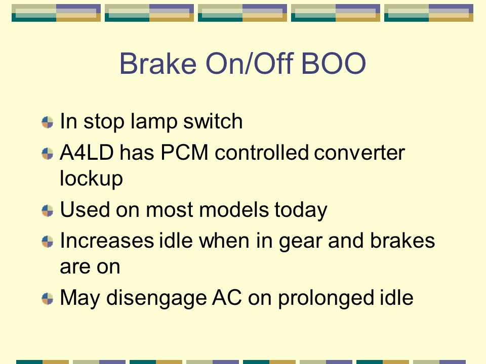 Brake On/Off BOO In stop lamp switch