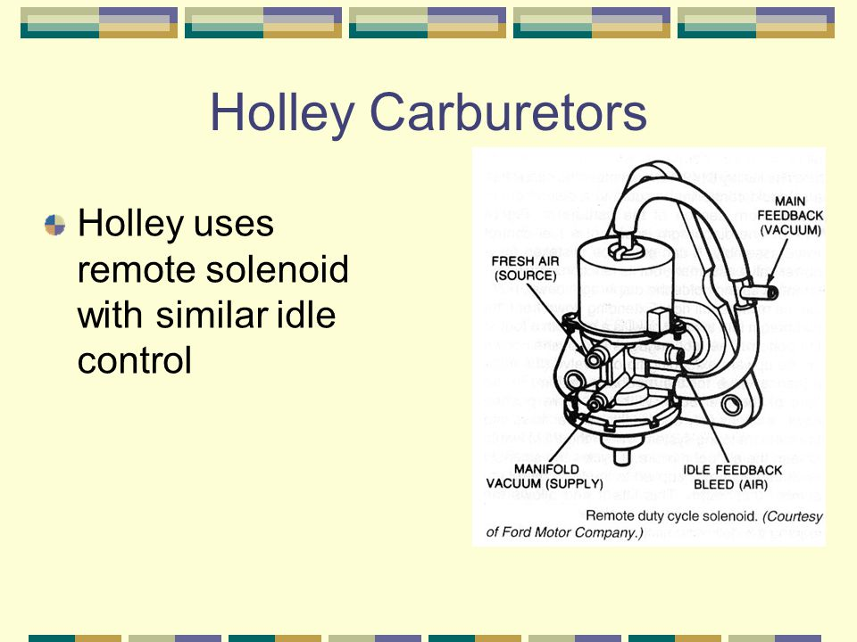 Holley Carburetors Holley uses remote solenoid with similar idle control