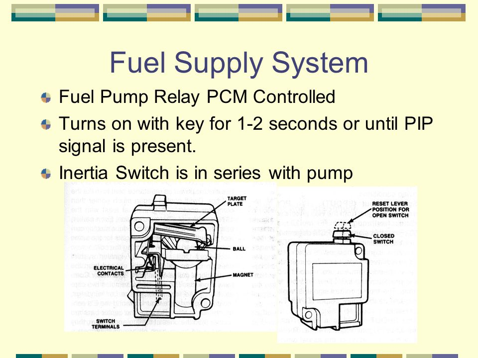 Fuel Supply System Fuel Pump Relay PCM Controlled