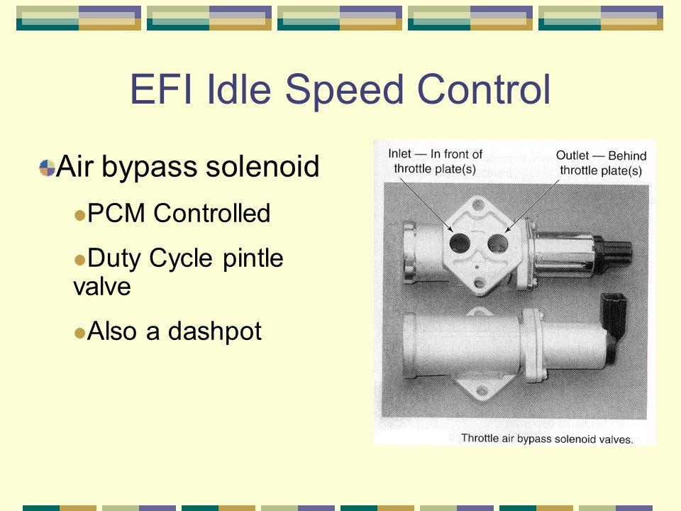 EFI Idle Speed Control Air bypass solenoid PCM Controlled