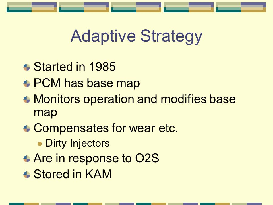 Adaptive Strategy Started in 1985 PCM has base map