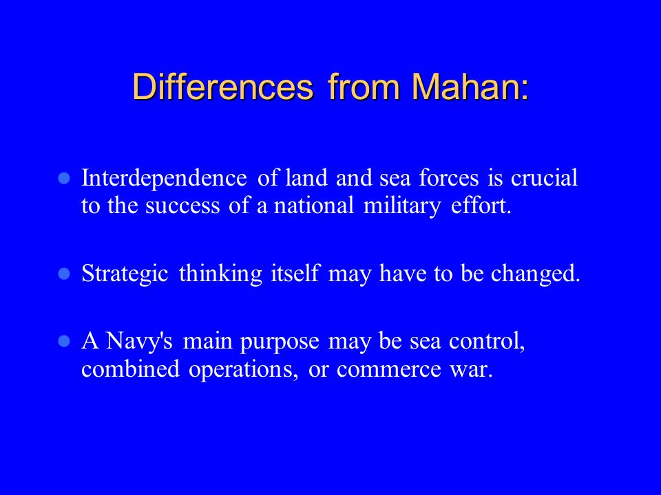 Differences from Mahan:
