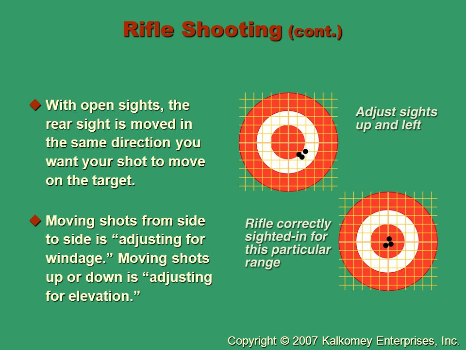 Rifle Shooting (cont.) With open sights, the rear sight is moved in the same direction you want your shot to move on the target.