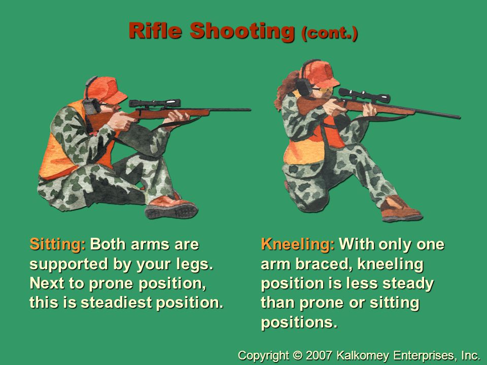 Rifle Shooting (cont.) Sitting: Both arms are supported by your legs. Next to prone position, this is steadiest position.