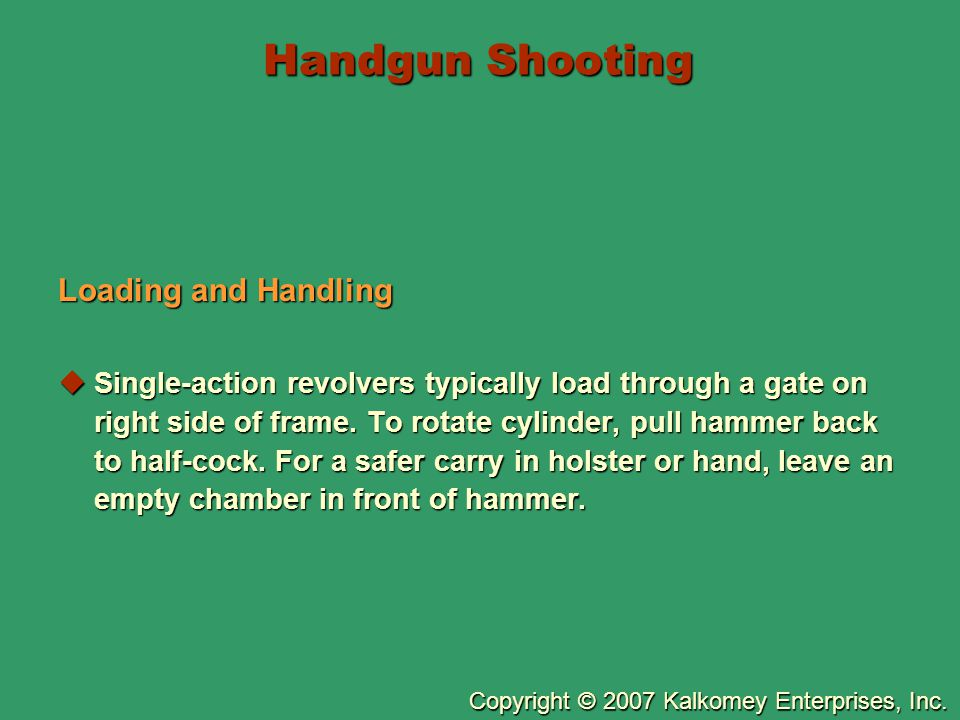 Handgun Shooting Loading and Handling
