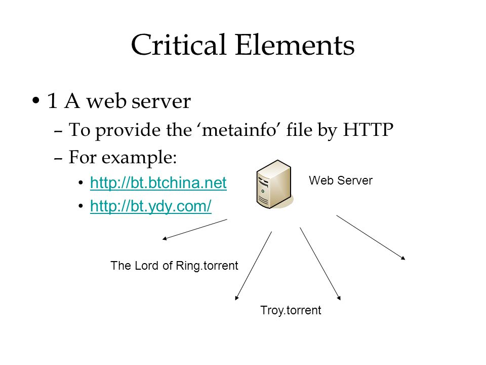 Critical Elements 1 A web server