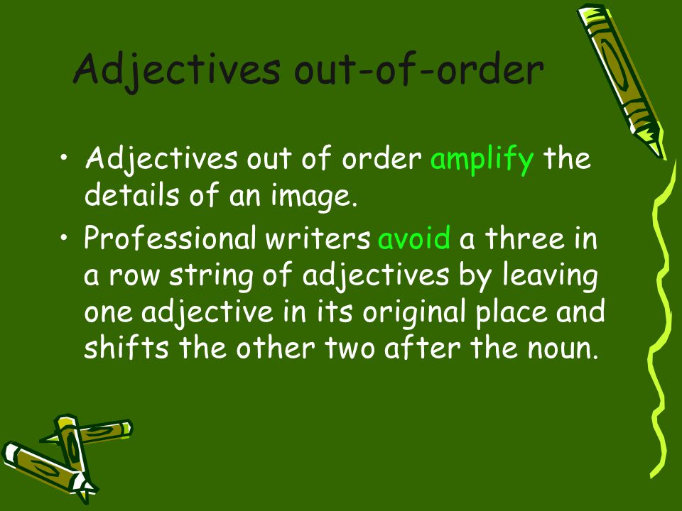 Adjectives out-of-order