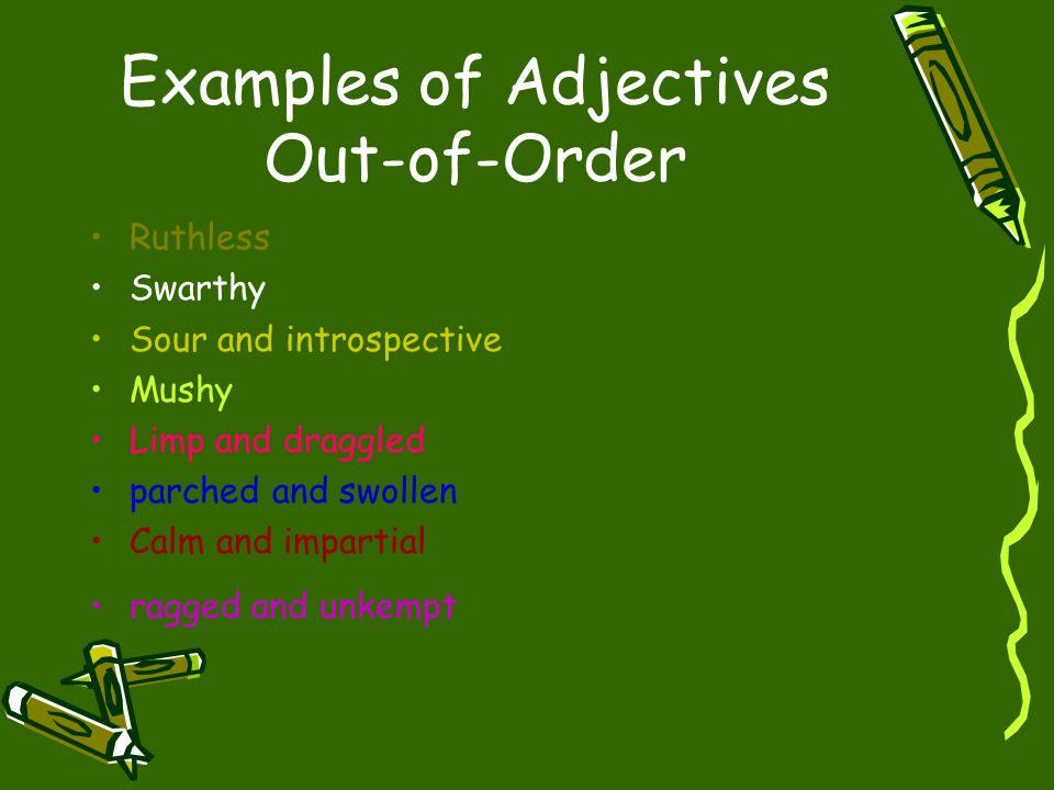 Examples of Adjectives Out-of-Order
