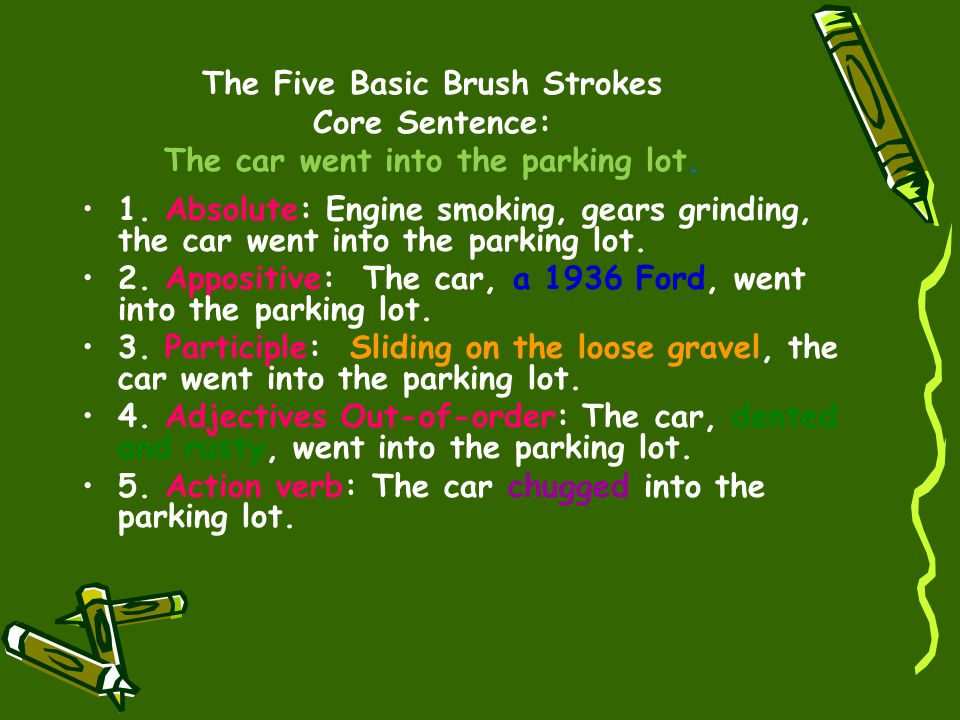 The Five Basic Brush Strokes Core Sentence: The car went into the parking lot.