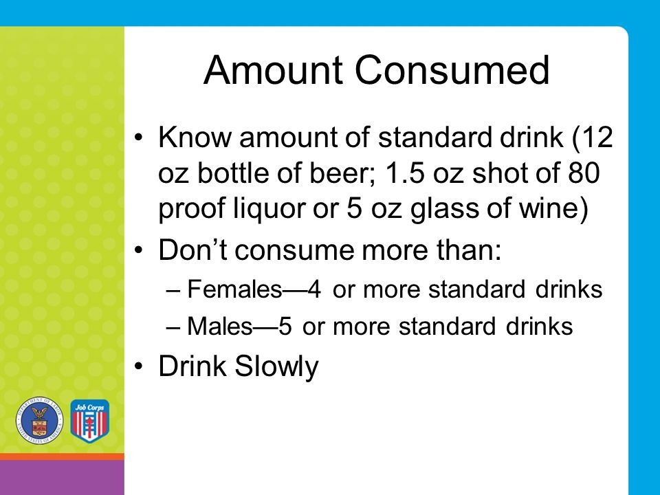 Amount Consumed Know amount of standard drink (12 oz bottle of beer; 1.5 oz shot of 80 proof liquor or 5 oz glass of wine)