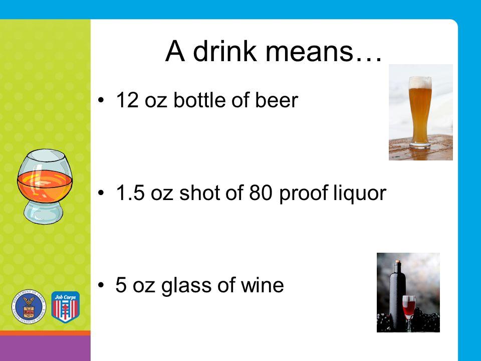 A drink means… 12 oz bottle of beer 1.5 oz shot of 80 proof liquor