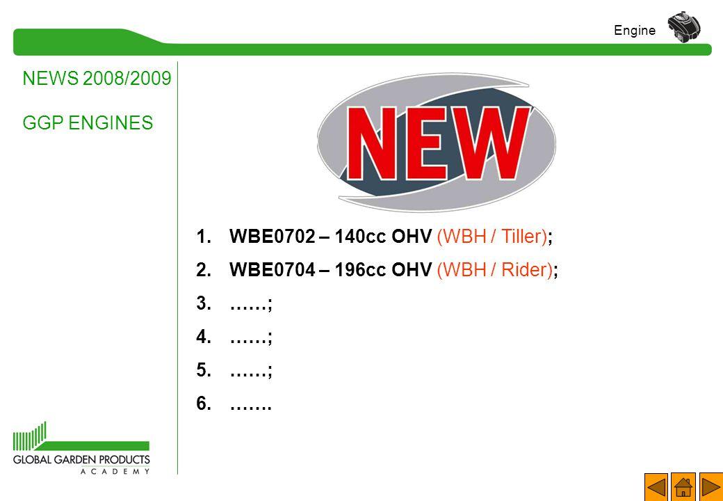WBE0702 – 140cc OHV (WBH / Tiller); WBE0704 – 196cc OHV (WBH / Rider);