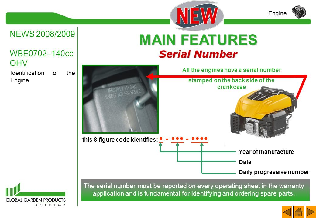 MAIN FEATURES Serial Number NEWS 2008/2009 WBE0702–140cc OHV