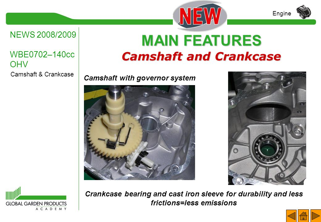 Camshaft and Crankcase Camshaft with governor system