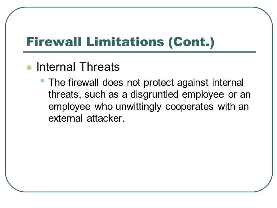 Firewall Limitations (Cont.)