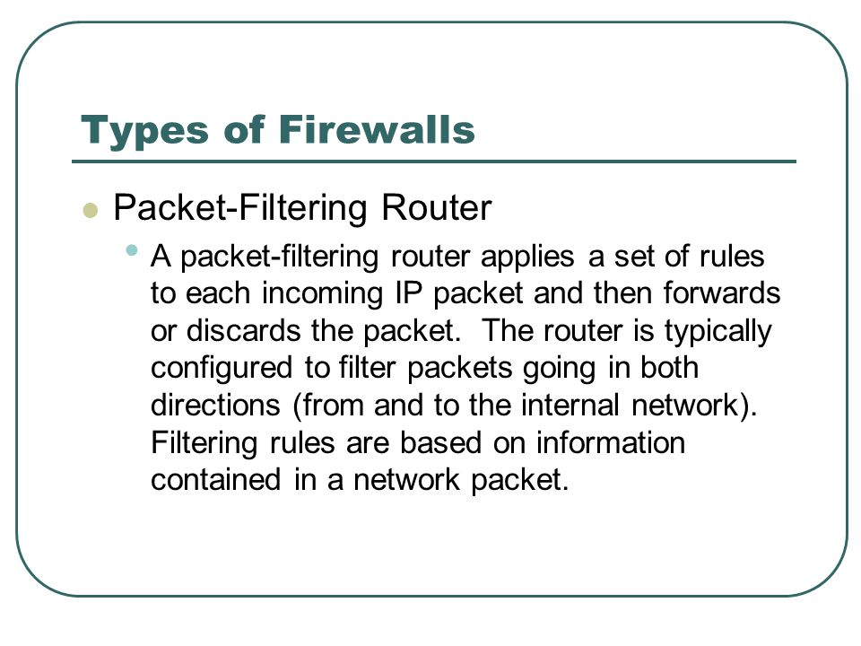 Types of Firewalls Packet-Filtering Router