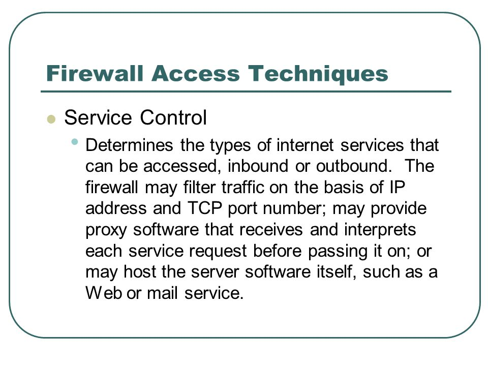 Firewall Access Techniques