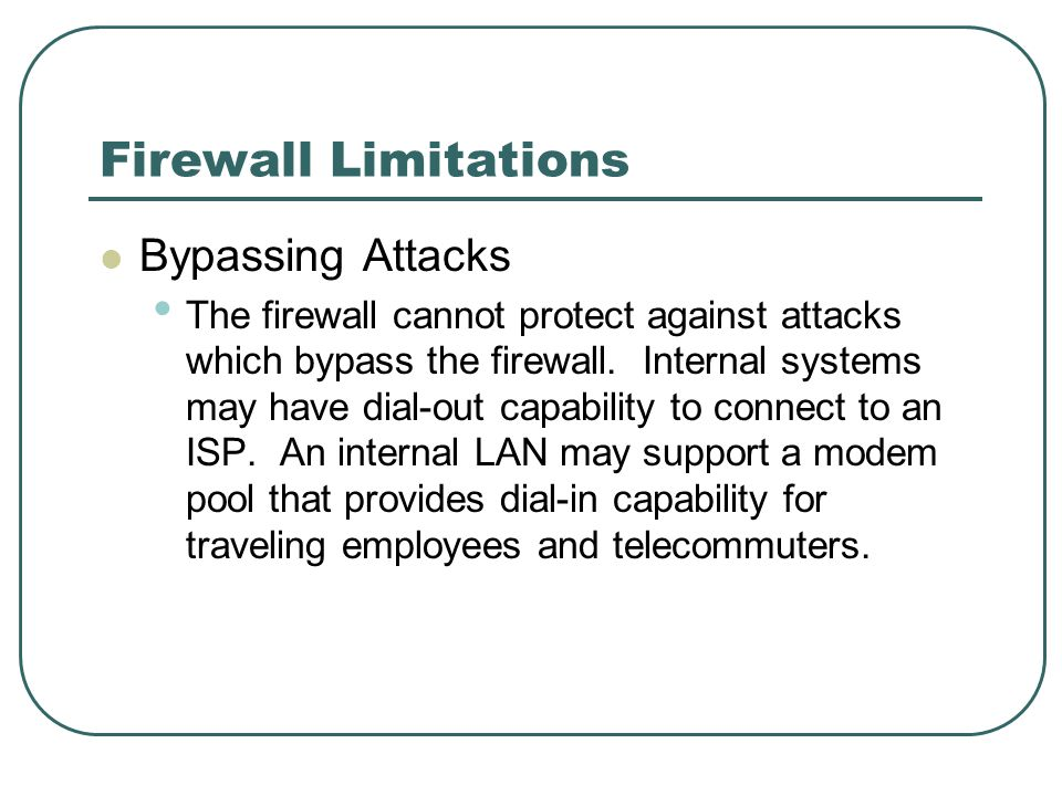 Firewall Limitations Bypassing Attacks