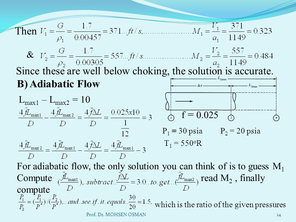 Then & Since these are well below choking, the solution is accurate. B) Adiabatic Flow. Lmax1 – Lmax2 = 10.