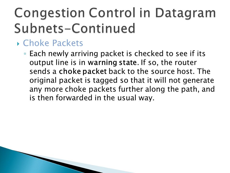Congestion Control in Datagram Subnets-Continued