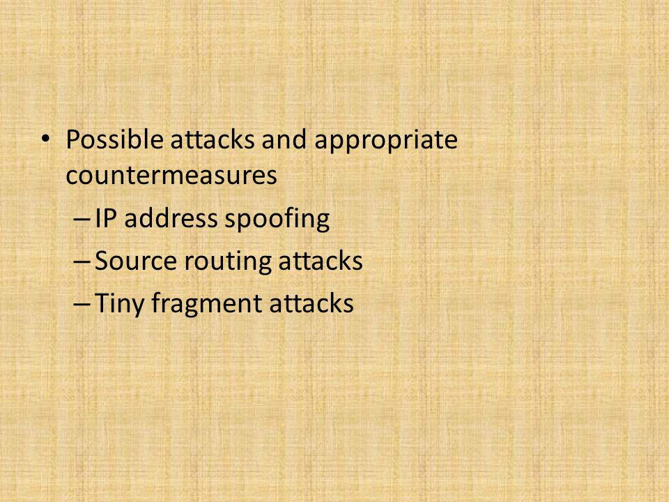 Possible attacks and appropriate countermeasures