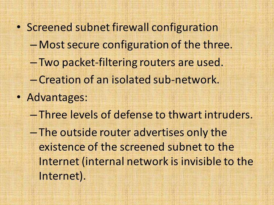 Screened subnet firewall configuration