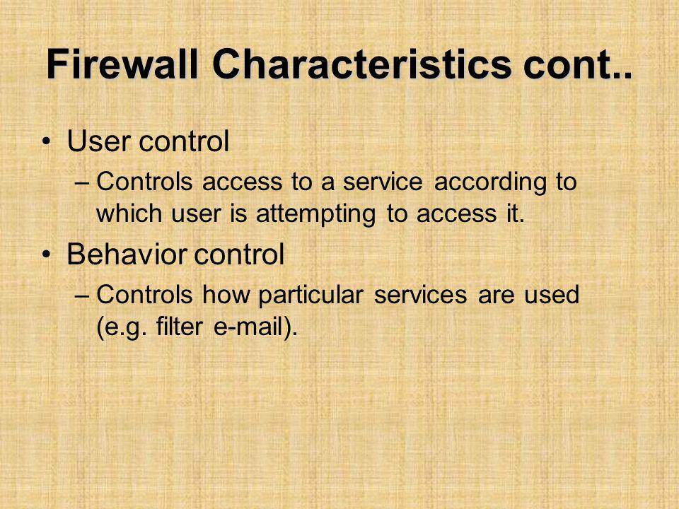 Firewall Characteristics cont..