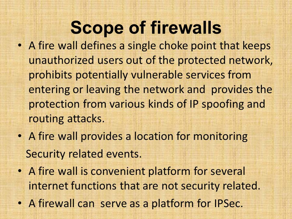 Scope of firewalls