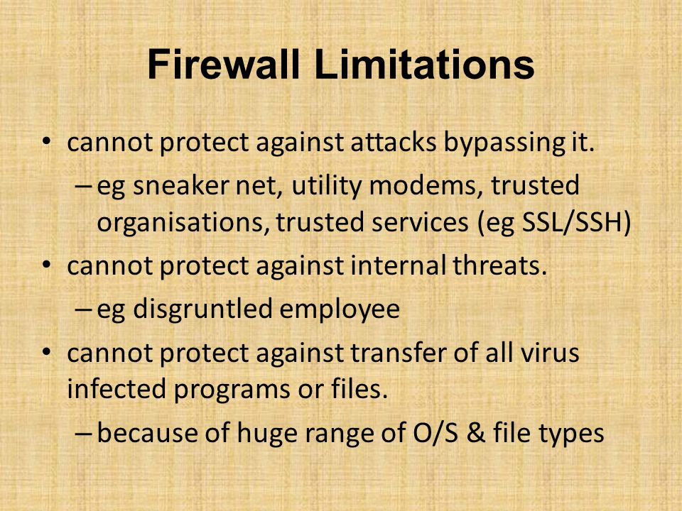 Firewall Limitations cannot protect against attacks bypassing it.
