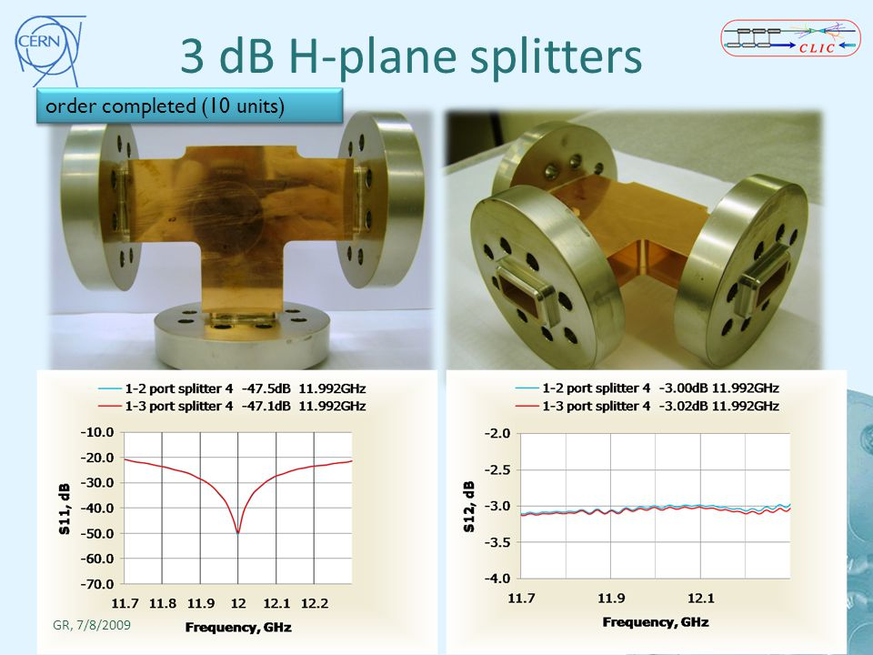 3 dB H-plane splitters order completed (10 units) GR, 7/8/2009