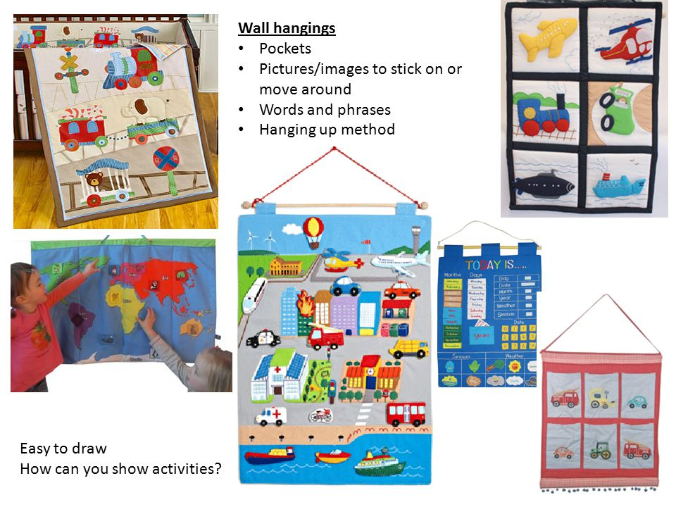 Wall hangings Pockets. Pictures/images to stick on or move around. Words and phrases. Hanging up method.