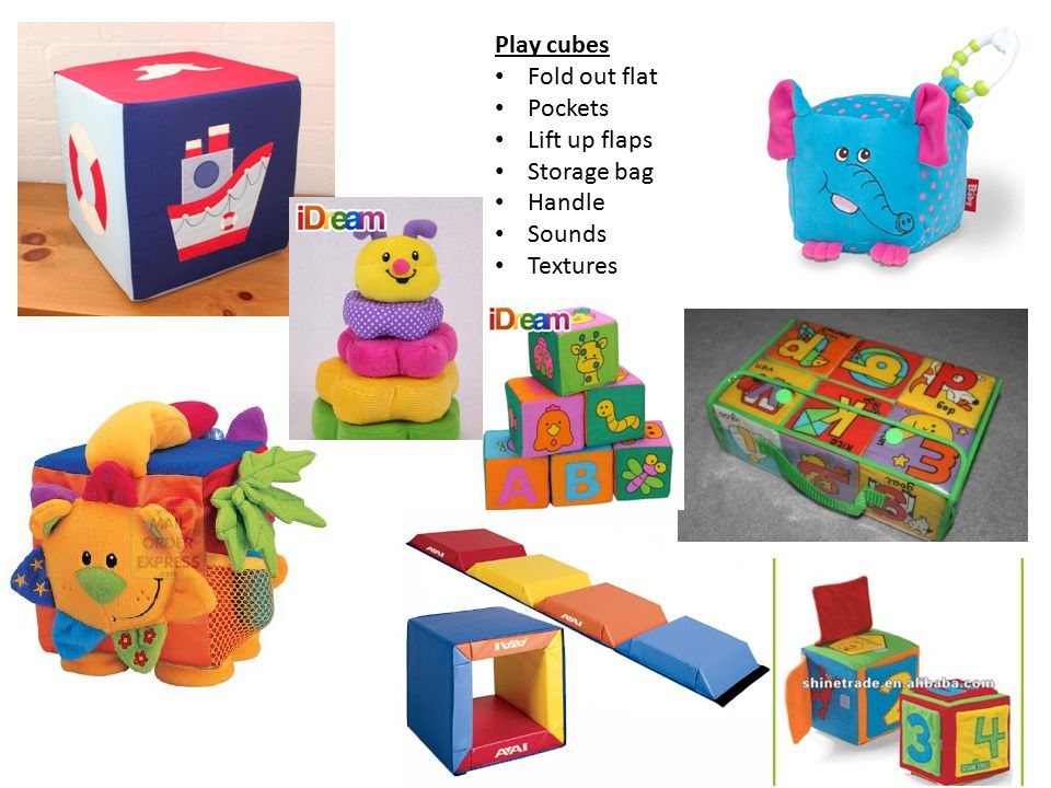 Play cubes Fold out flat Pockets Lift up flaps Storage bag Handle Sounds Textures