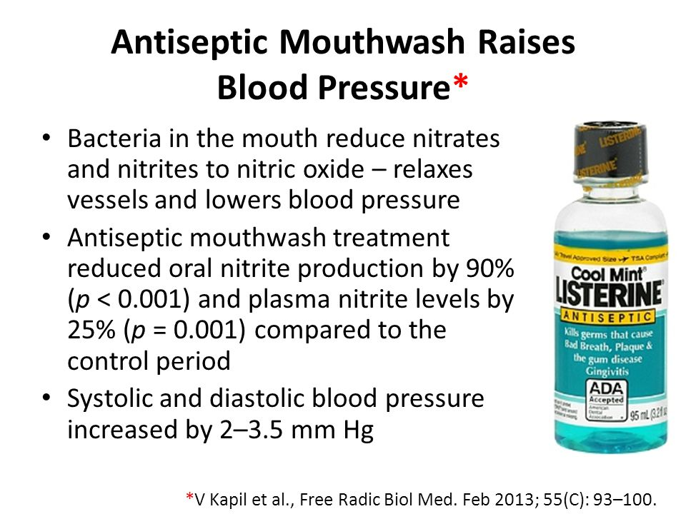Antiseptic Mouthwash Raises Blood Pressure*