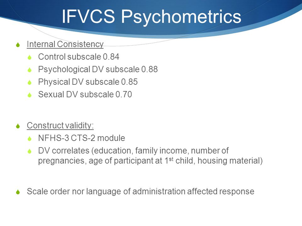 IFVCS Psychometrics Internal Consistency Control subscale 0.84