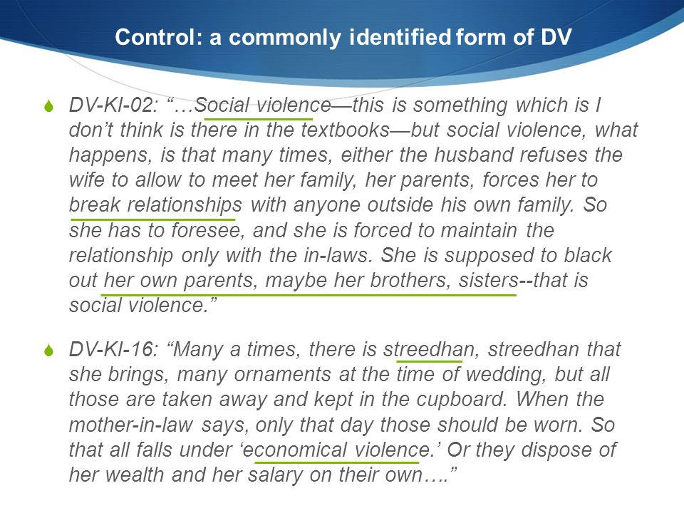 Control: a commonly identified form of DV