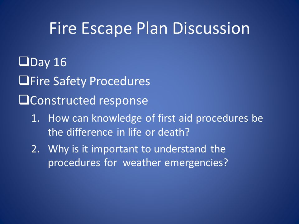 Fire Escape Plan Discussion