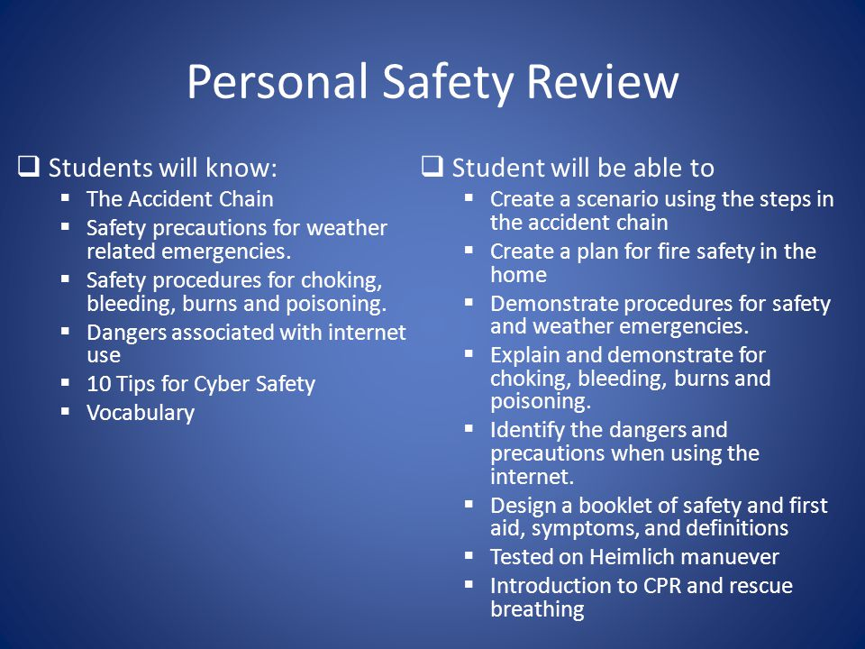 Personal Safety Review
