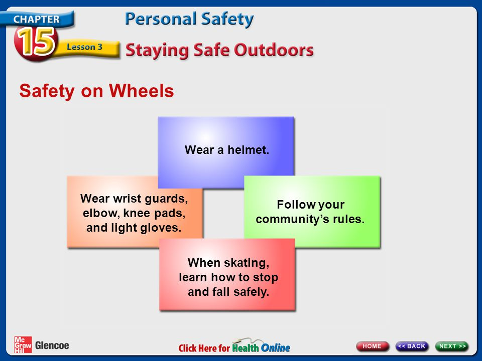 Safety on Wheels Wear a helmet.