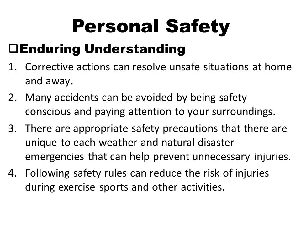 Personal Safety Enduring Understanding