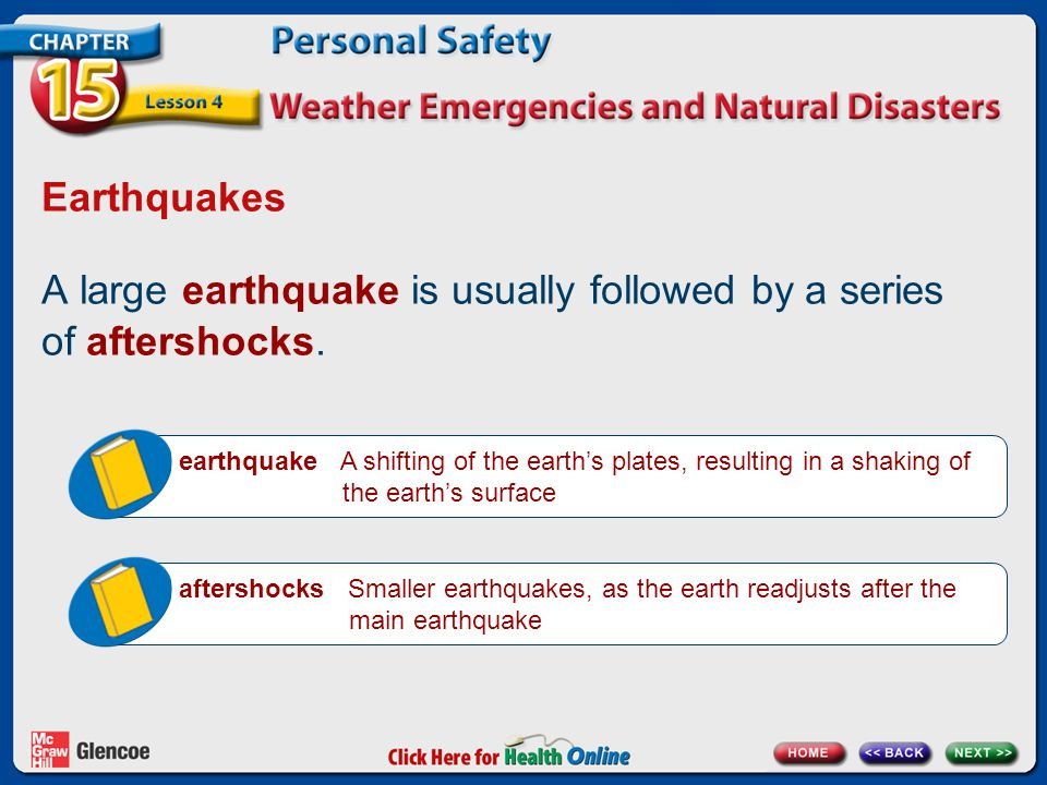 A large earthquake is usually followed by a series of aftershocks.