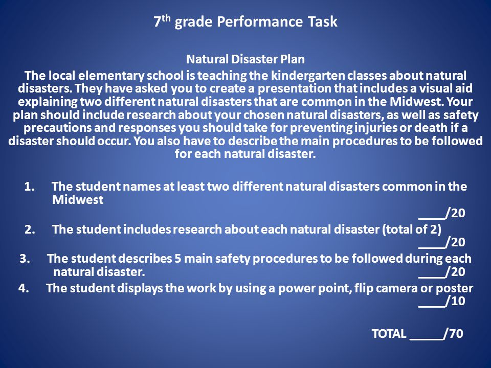 7th grade Performance Task