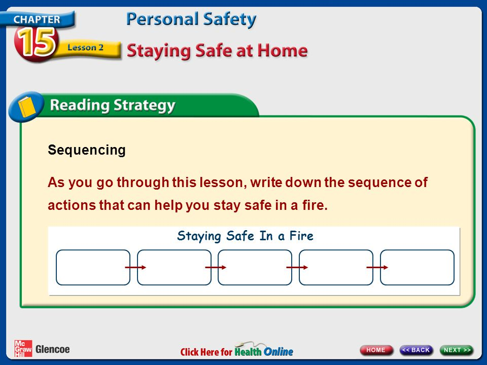 Sequencing As you go through this lesson, write down the sequence of actions that can help you stay safe in a fire.