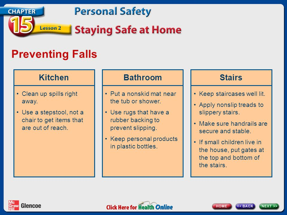 Preventing Falls Kitchen Bathroom Stairs Clean up spills right away.