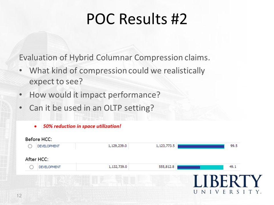 POC Results #2 Evaluation of Hybrid Columnar Compression claims.