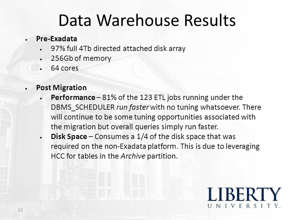 Data Warehouse Results