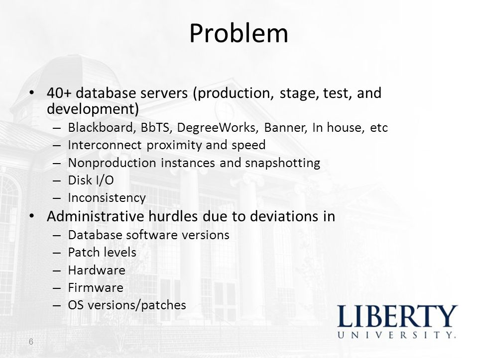 Problem 40+ database servers (production, stage, test, and development) Blackboard, BbTS, DegreeWorks, Banner, In house, etc.
