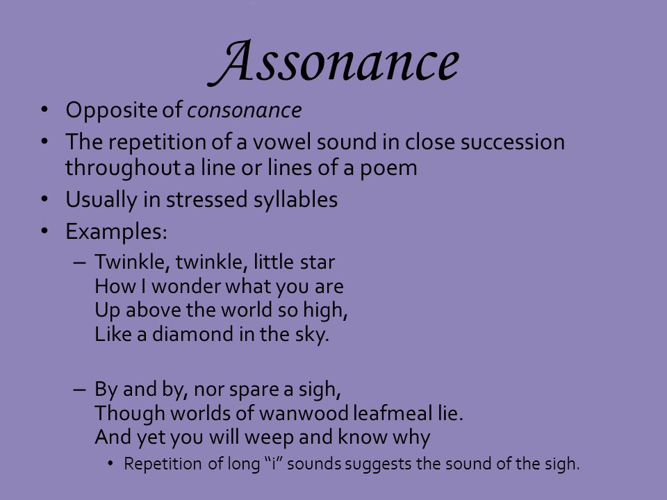 Assonance Opposite of consonance